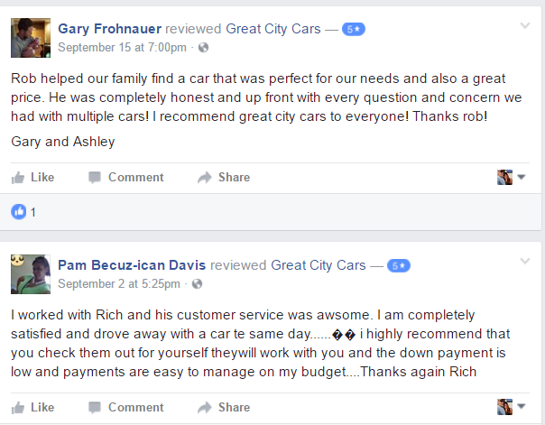 buy here pay here columbus testimonials- great city cars